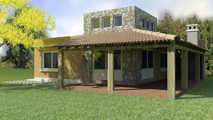 CONTRAFRENTE: Casas unifamiliares de estilo  por A3 arquitectas - Salta,