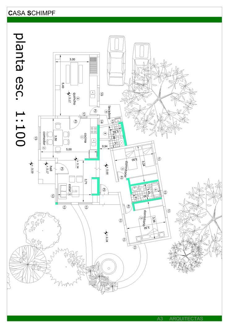 Diseño de casa en Tafí del Valle por A3 Arquitectas:  de estilo  por A3 arquitectas - Salta,