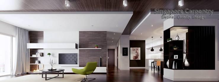 MONOCHROMATIC MINIMALIST THEME:  Corridor, hallway by Singapore Carpentry Interior Design Pte Ltd,Minimalist