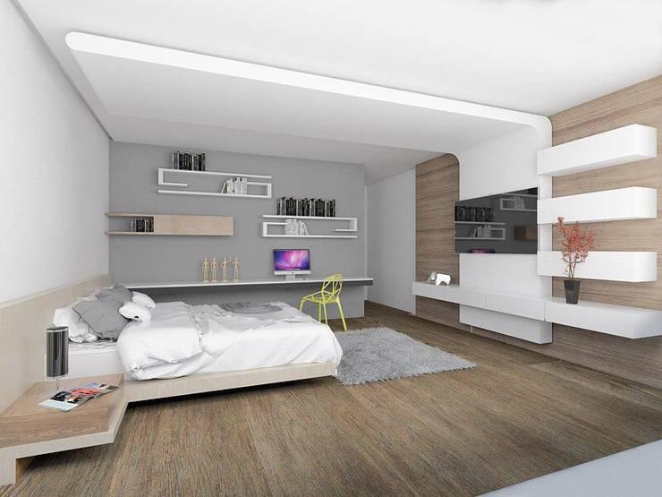 Casa M: Recámaras de estilo moderno por emARTquitectura