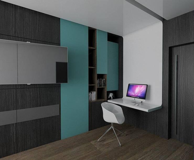 Casa M: Estudios y oficinas de estilo moderno por emARTquitectura