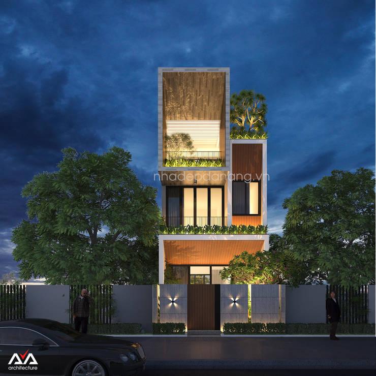 Thiết kế mặt tiền nhà phố 3 tầng Khu đô thị sinh thái Hòa Xuân, TP. Đà Nẵng:   by AVA Architecture