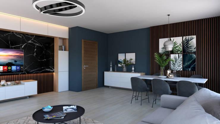Dündar Design - Mimari Görselleştirme – Salon - İç Mekan Görselleştirme:  tarz Oturma Odası