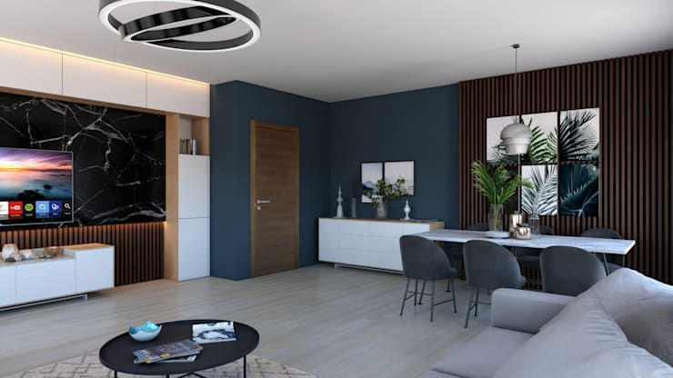 Гостиная в . Автор – Dündar Design - Mimari Görselleştirme, Модерн