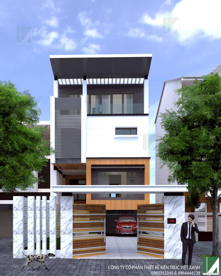 THIẾT KẾ NHÀ PHỐ 4 TẦNG HIỆN ĐẠI, SANG TRỌNG:   by công ty cổ phần Thiết kế Kiến trúc Việt Xanh