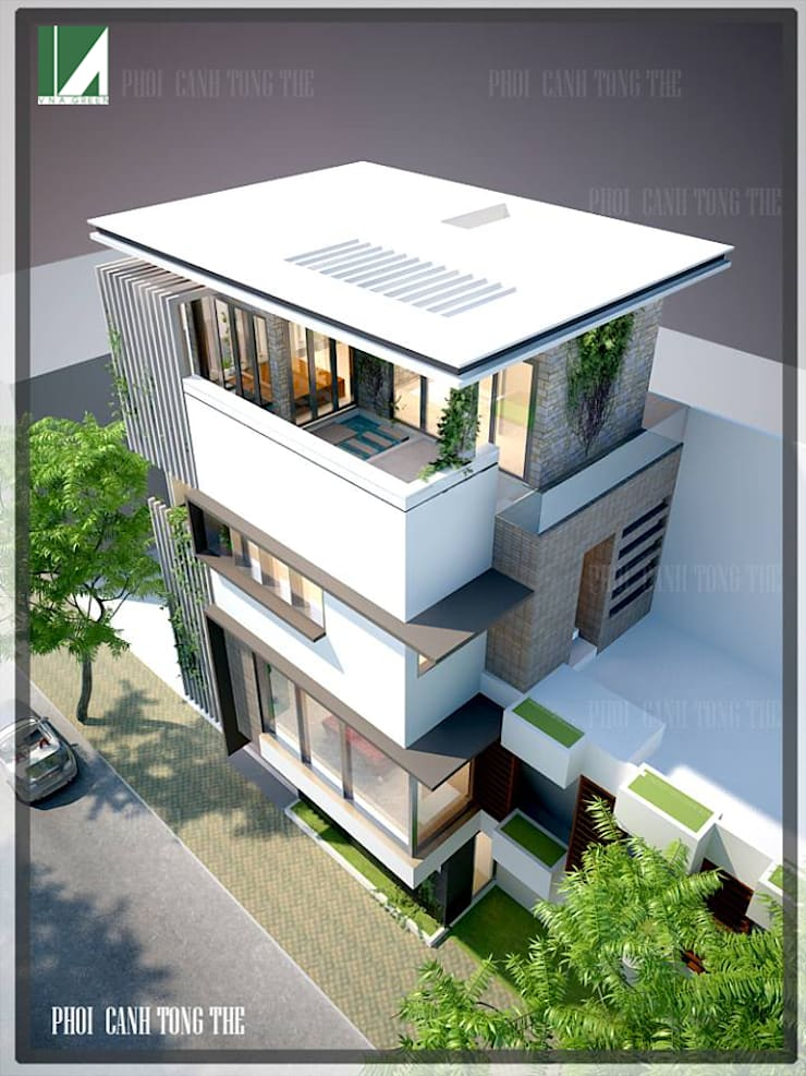 NHÀ PHỐ 8.5 X5M .UÔNG BÍ- QUẢNG NINH:   by công ty cổ phần Thiết kế Kiến trúc Việt Xanh