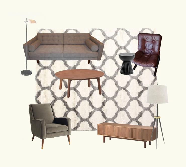 Moodboard sala de estar:   por Tangerinas e Pêssegos - Design de Interiores & Decoração no Porto