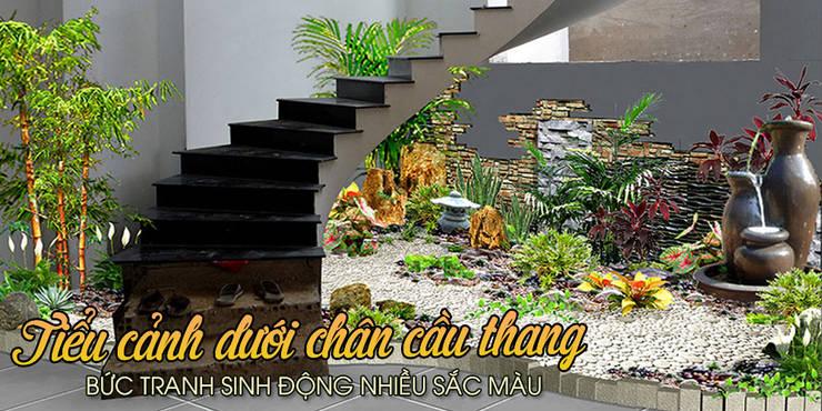 Bài trí non bộ dưới chân cầu thang- Hãy xem xét cẩn thận:  Cầu thang by Công Ty Thi Công Và Thiết Kế Tiểu Cảnh Non Bộ