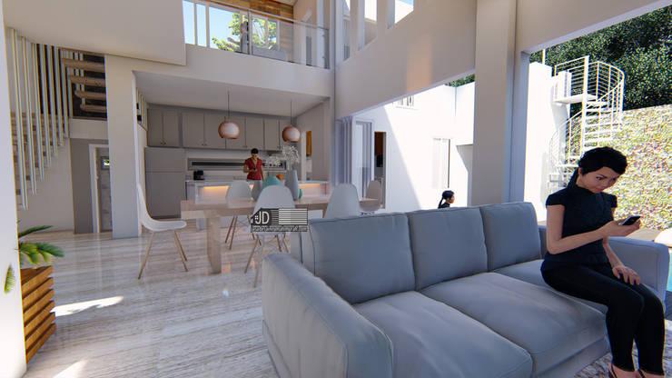 Desain Rumah Modern Bapak Barik Di Malang:  Ruang Keluarga by Wahana Utama Studio