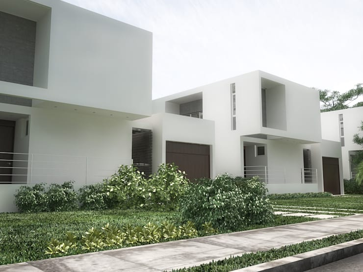 5 Casas en Miami: Jardines en la fachada de estilo  por RRA Arquitectura