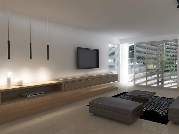 Lomas de Las Mercedes: Salas / recibidores de estilo  por RRA Arquitectura