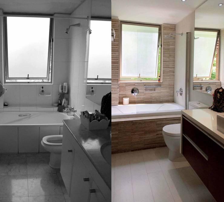 Reconstrucción de baño, Lo Recabarren:  de estilo  por Crescente Böhme Arquitectos