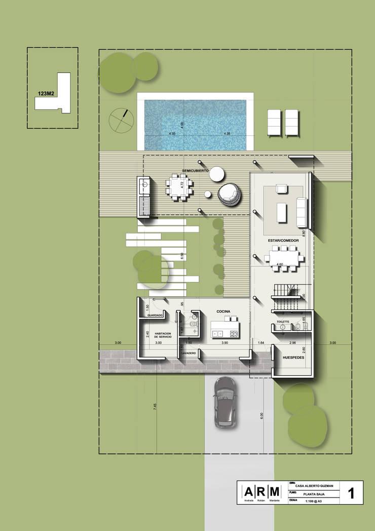 Planta Baja: Casas unifamiliares de estilo  por ARM Arquitectos,Moderno