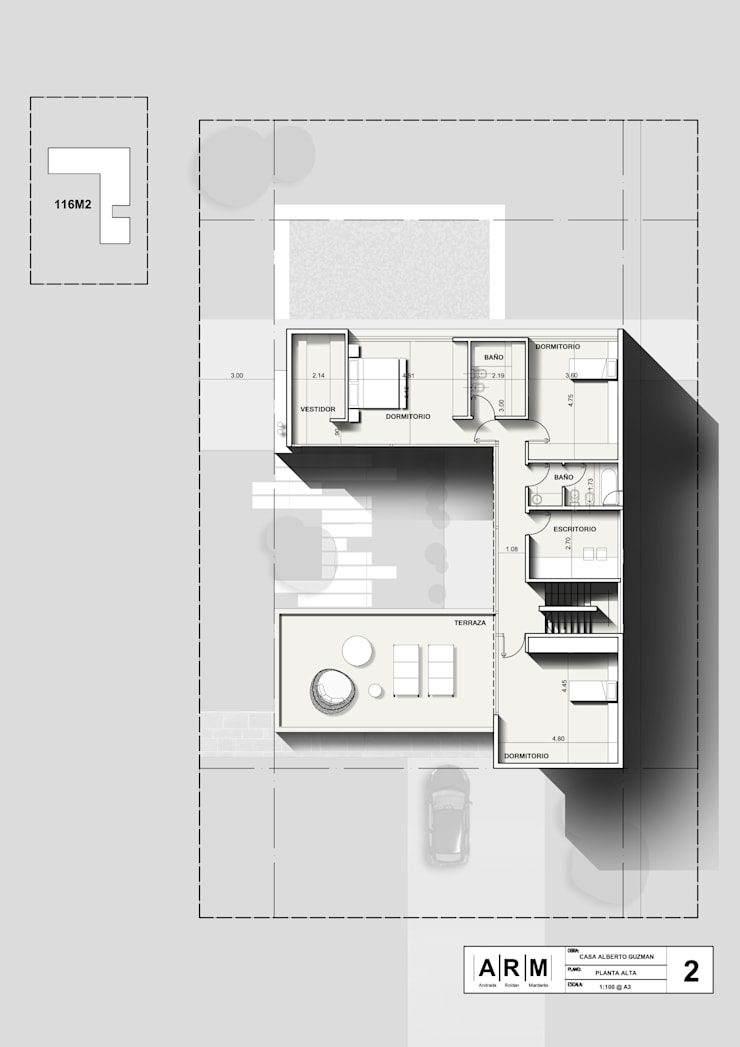 Planta Alta: Casas unifamiliares de estilo  por ARM Arquitectos,Moderno