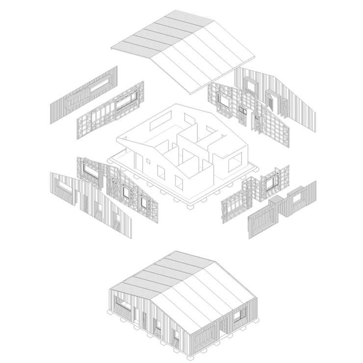 Casa envuelta en madera:  de estilo  por Crescente Böhme Arquitectos