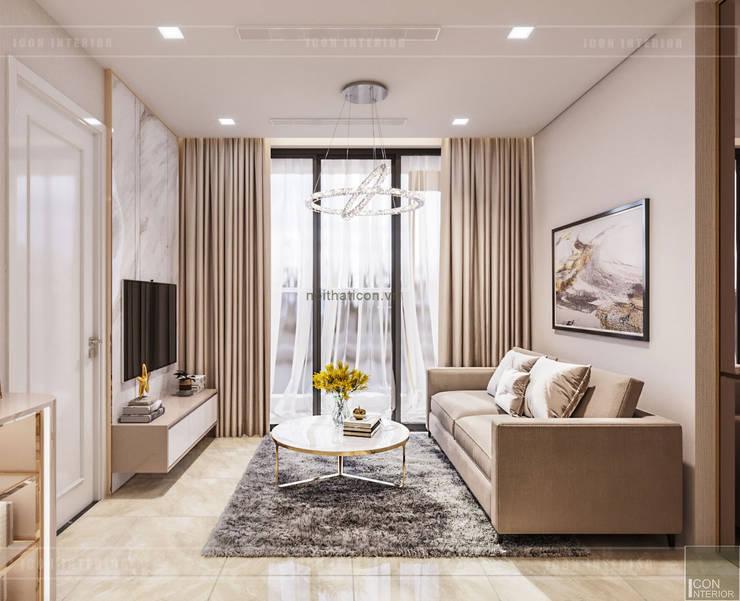 THIẾT KẾ CĂN HỘ MONOCHROME HIỆN ĐẠI – Căn hộ Vinhomes Golden River:  Phòng khách by ICON INTERIOR