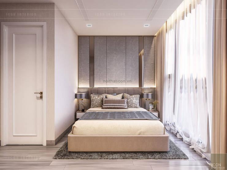 THIẾT KẾ CĂN HỘ MONOCHROME HIỆN ĐẠI – Căn hộ Vinhomes Golden River:  Phòng ngủ by ICON INTERIOR