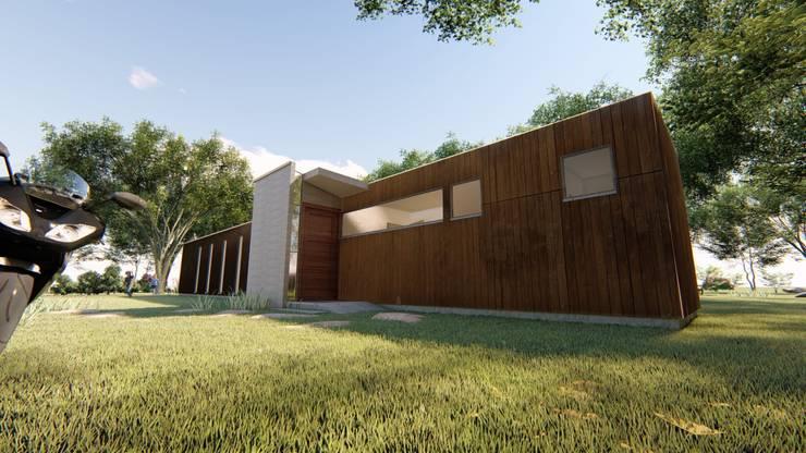 Fachada sur_ cuerpo oriente_ zona de servicio: Casas ecológicas de estilo  por BIM Urbano, Minimalista Hierro/Acero