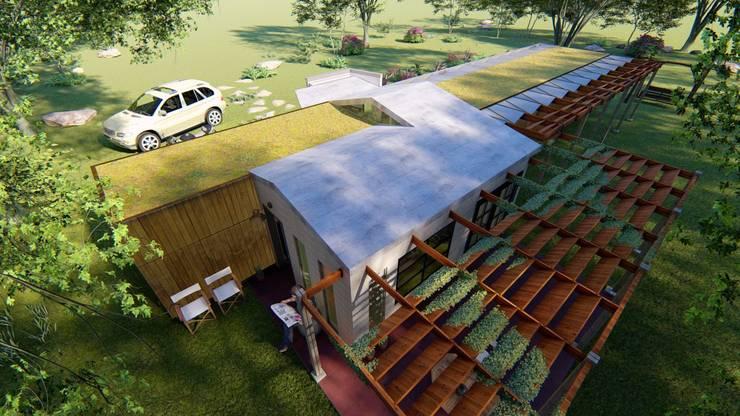 Función y tipo de las cubiertas: Casas ecológicas de estilo  por BIM Urbano