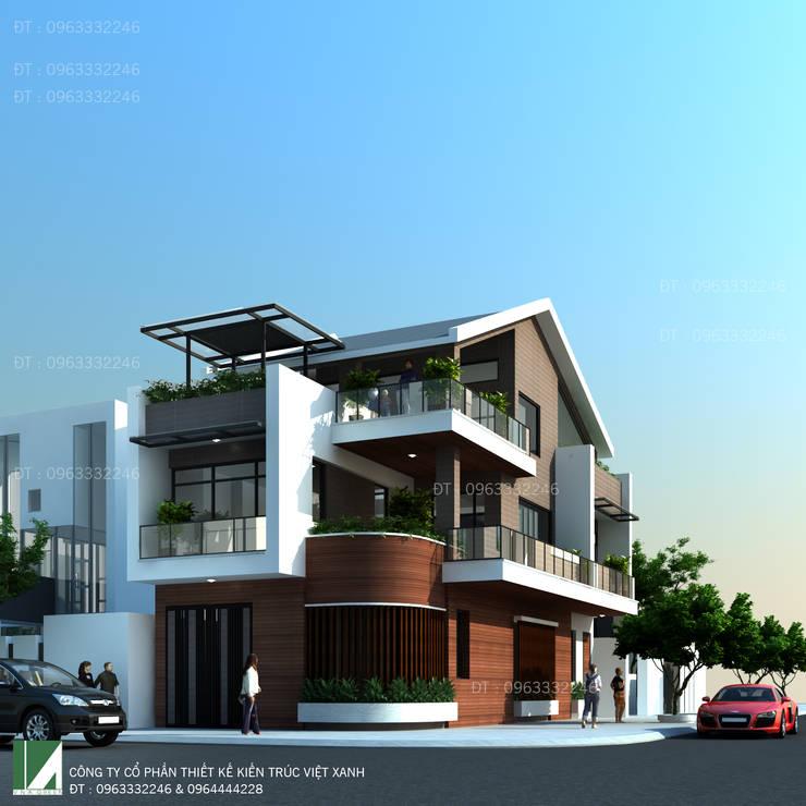 BIỆT THỰ 3 TẦNG LÔ GÓC MÁI NGÓI HIỆN ĐẠI:   by công ty cổ phần Thiết kế Kiến trúc Việt Xanh