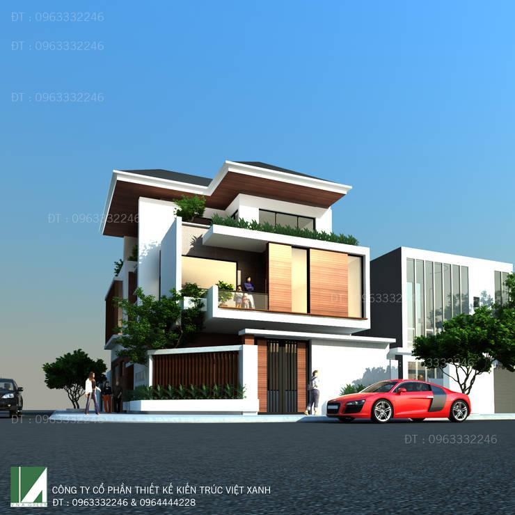 BIỆT THỰ 3 TẦNG HIỆN ĐẠI MÁI NGÓI:   by công ty cổ phần Thiết kế Kiến trúc Việt Xanh