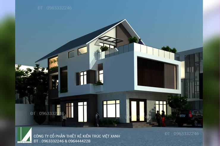 BIỆT THỰ 3 TẦNG MÁI THÁI HIỆN ĐẠI:   by công ty cổ phần Thiết kế Kiến trúc Việt Xanh
