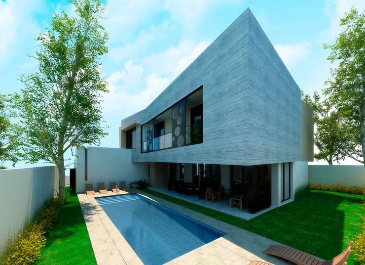 Fachada trasera: Albercas de jardín de estilo  por Facere Arquitectura