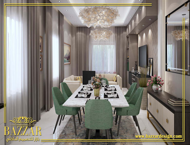 غرف معيشه:  Dining room تنفيذ Bazzar Design