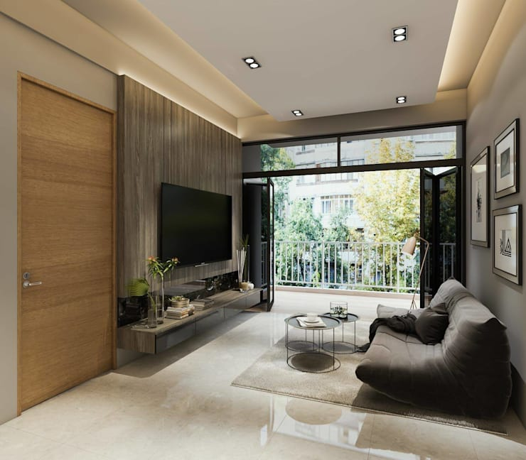 Touch of Luxury:  Living room by Singapore Carpentry Interior Design Pte Ltd