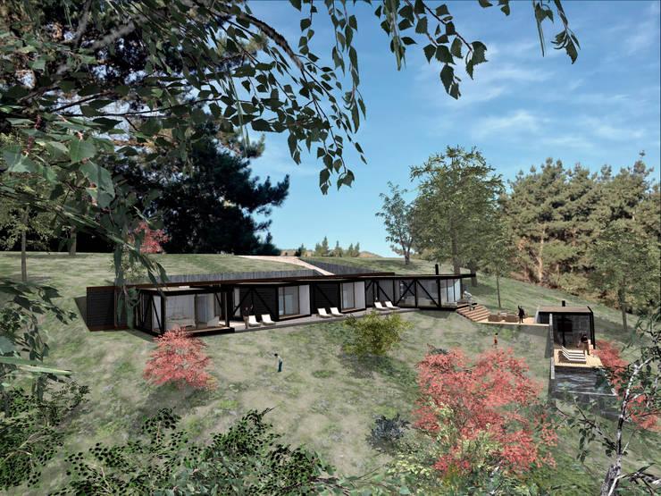 VISTA LATERAL: Casas de estilo  por KOMMER ARQUITECTOS