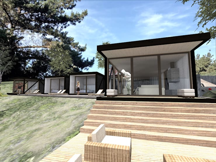 VISTA FRONTAL DETALLE: Casas de estilo  por KOMMER ARQUITECTOS