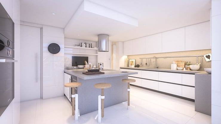Apartamento Paço de Arcos: Cozinhas  por DV Arquitecto