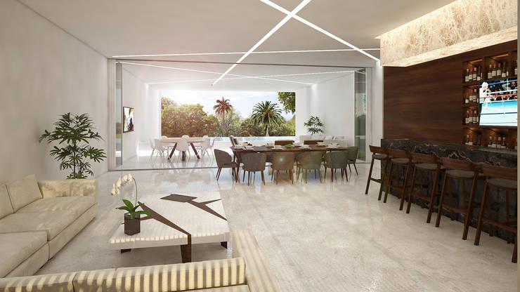 sala-comedor-bar:  de estilo  por studio arquitectura   Despacho de arquitectos   Cancún