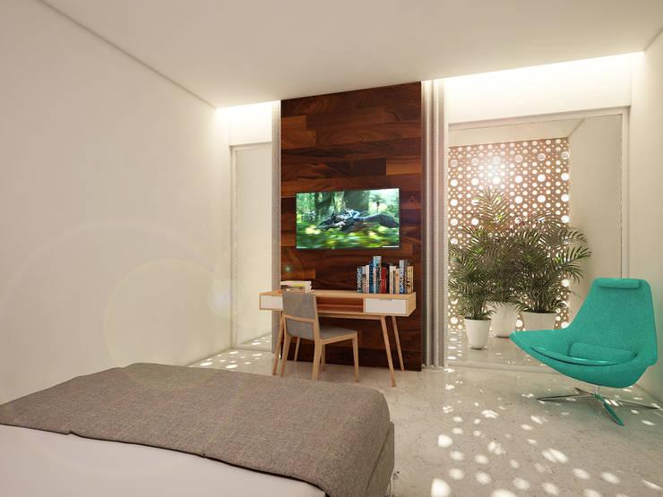 recamara secundaria:  de estilo  por studio arquitectura   Despacho de arquitectos   Cancún