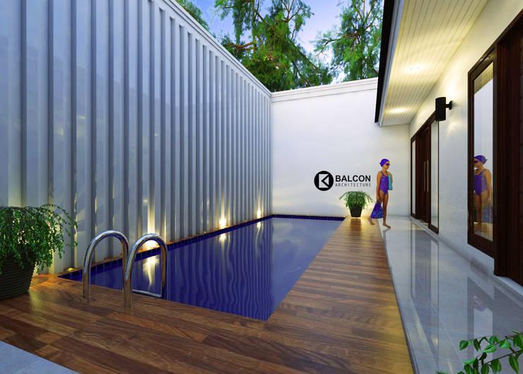 GREY-HOUSE :  Kolam Renang by BALCON ARCHITECTS