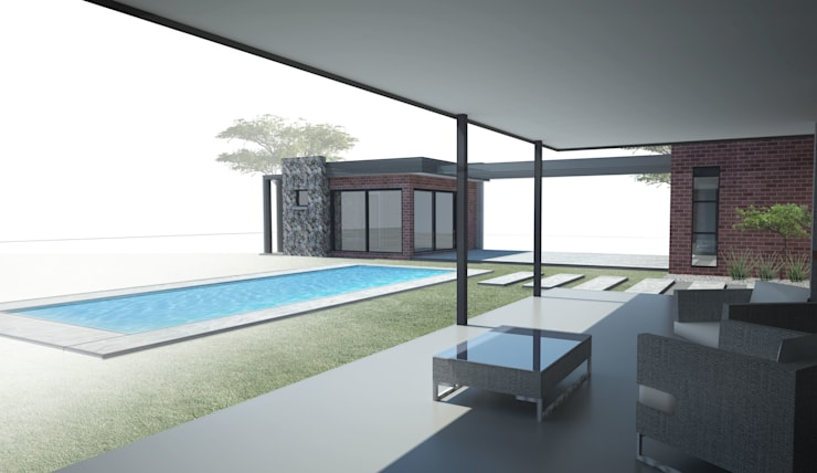 New Patio:  Patios by A4AC Architects, Modern Iron/Steel