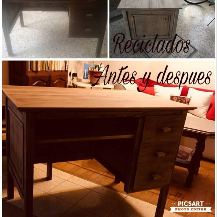 Escritorio reciclado: Estudio de estilo  por ANADECO - Decoradora y Diseñadora de Interiores - La Plata,
