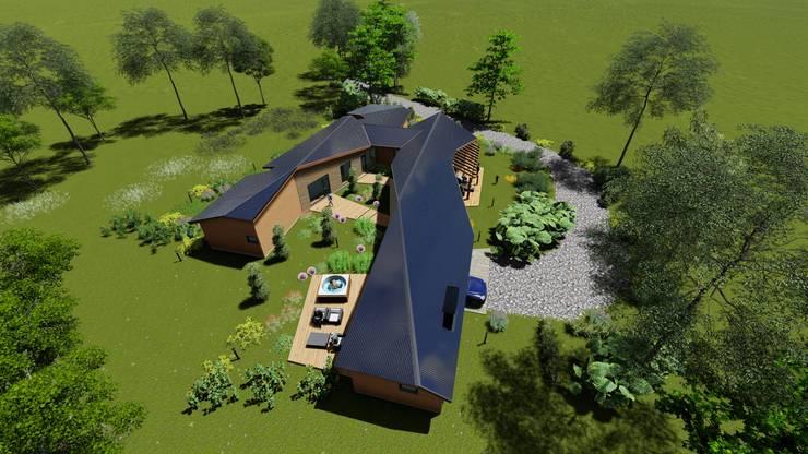 Imagen Vuelo de Pajaro Poniente: Techos de estilo  por Nomade Arquitectura y Construcción spa