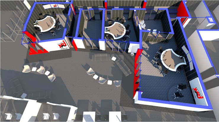 3D PLAN VIEW:  Commercial Spaces by A4AC Architects