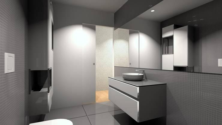 Refúgio em Montalegre: Casas de banho  por QOTDA Design
