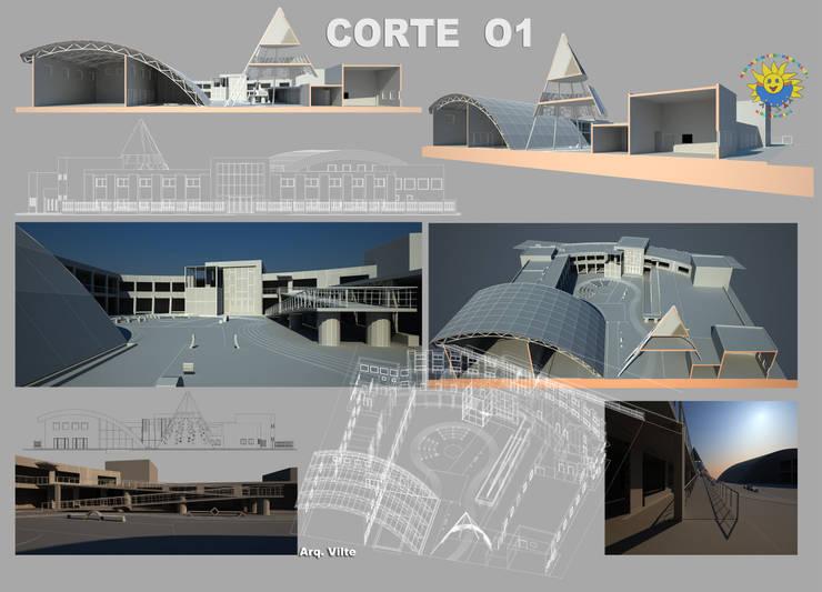 Corte: Escuelas de estilo  por Arquitecto Manuel Daniel Vilte,