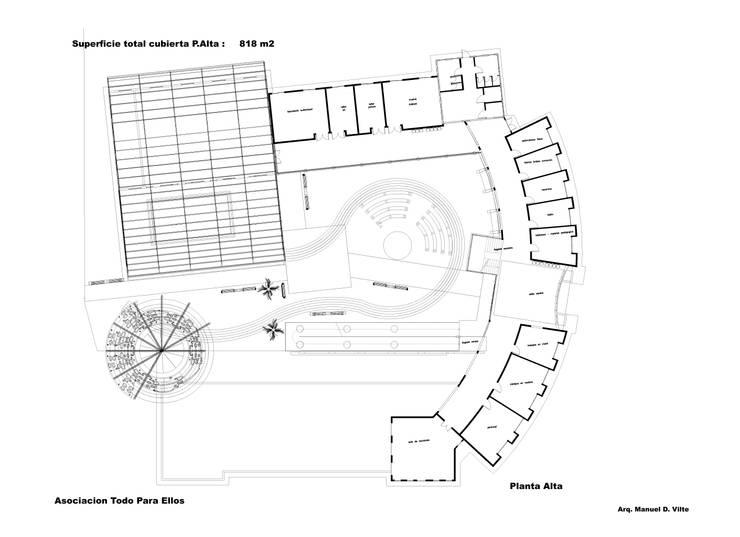 Planta Alta: Escuelas de estilo  por Arquitecto Manuel Daniel Vilte,