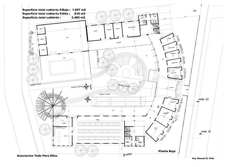 Planta Baja: Escuelas de estilo  por Arquitecto Manuel Daniel Vilte,