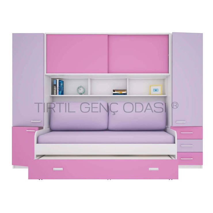 Tırtıl Genç ve Çocuk Odası – Kız Çocuk İçin Dolaplı Yatak - Compact Genç Odası :  tarz Çocuk Odası