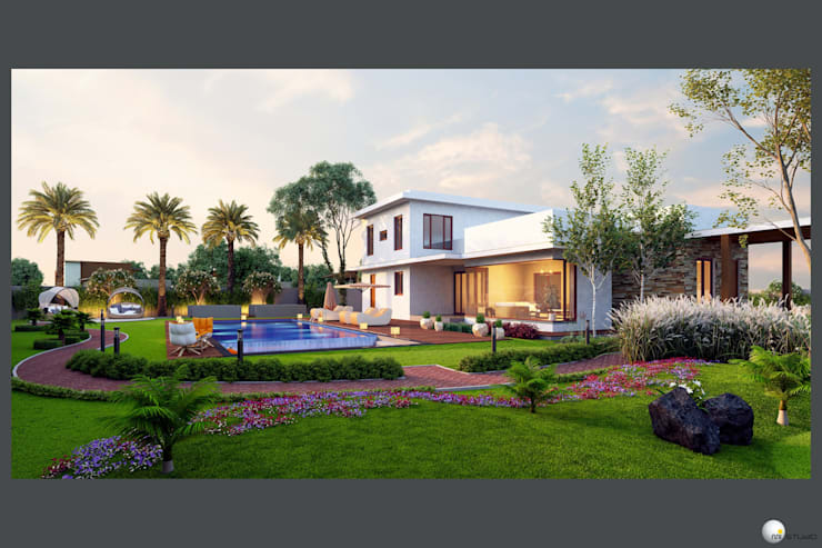 Exterior 3D Still Rendering—Residential Projects: asian Houses by MI Studio LLP
