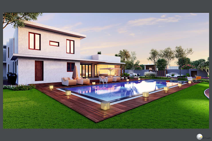 Exterior 3D Still Rendering—Residential Projects:  Houses by MI Studio LLP