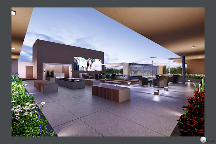 Exterior 3D Still Rendering—Residential Projects:  Roof by MI Studio LLP