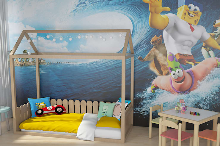 Tırtıl Genç ve Çocuk Odası – Montessori Yatak:  tarz Çocuk Odası