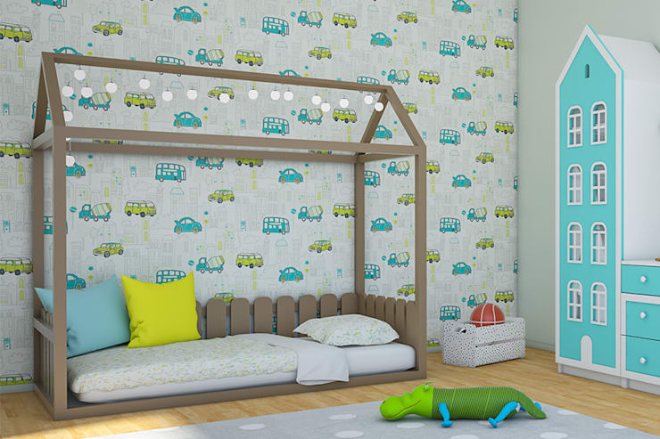 Tırtıl Genç ve Çocuk Odası – Montessori Alçak Yatak Çocuk Odası:  tarz Çocuk Odası