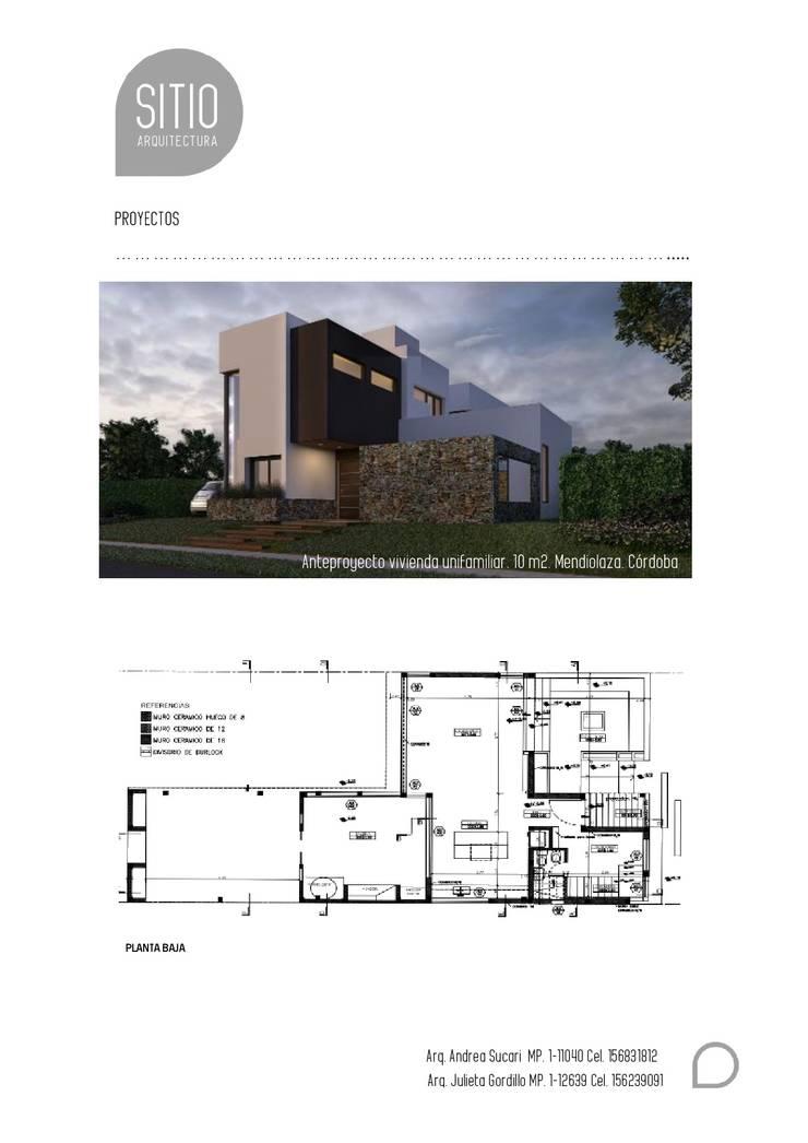 Proyecto Vivienda Unifamiliar: Casas de estilo  por Sitio Arquitectura,